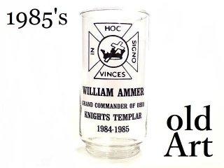 USAヴィンテージ1985年代フリーメイソンテンプル騎士団オフィシャルガラス製グラス【M-13432】