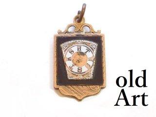 アンティーク1890-1910年代フリーメイソンマークマスター金張りフォブペンダントトップ【M-13507】