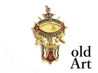 アンティーク1890-1920年代フリーメイソンテンプル騎士団フォブペンダントトップ【M-13508】