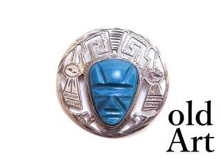 ヴィンテージ1950-60年代MEXICOメキシコ製アステカ騎士スターリングシルバー製メキシカンブローチペンダント【M-13511】