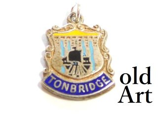 英国製イギリス1960年製造ヴィンテージTONBRIDGE紋章シルバー製ペンダントチャーム/ホールマーク刻印【M-13447】