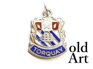 英国製イギリス1962年製造ヴィンテージTORQUAY紋章シルバー製ペンダントチャーム/ホールマーク刻印【M-13448】