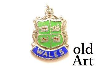 英国製イギリス1965年製造ヴィンテージウェールズWALES紋章シルバー製ペンダントチャーム/ホールマーク刻印【M-13452】