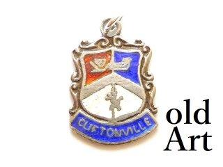 英国イギリス製ヴィンテージCUFTONVILLEクリフトンビル都市紋章シルバー製ペンダントチャーム【M-13458】