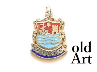 英国イギリス製ヴィンテージSCARBOROUGHスカロボー都市紋章シルバーメッキペンダントチャーム【M-13462】