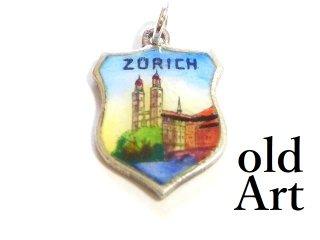 ヴィンテージ1970年代SWISSスイス都市Zrichチューリッヒシルバー製SILVER800エナメルペンダントチャーム【M-13472】