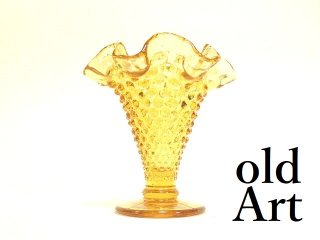 USA製ヴィンテージ1970年代Fentonオールドフェントン琥珀アンバーホブネイルガラス置物オブジェ【M-13380】