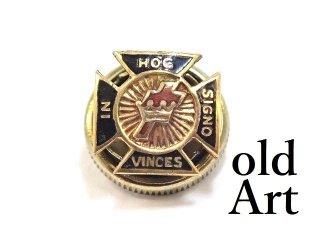 USA製ヴィンテージ1950年代フリーメイソンテンプル騎士団10金無垢10Kゴールドピンバッジ/ラペルピン【M-13601】