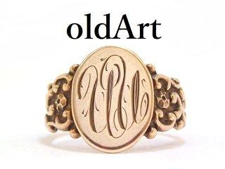 USA製アンティーク彫刻オーバル型シグネットリング10金無垢メンズ指輪18号10Kゴールド【M-13612】