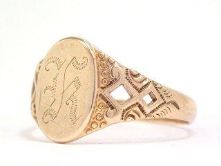 USA製アンティーク1910-20年代OSTBY&BARTON社シグネット彫刻オーバル型10金無垢メンズリング指輪26号10Kゴールド【M-13613】