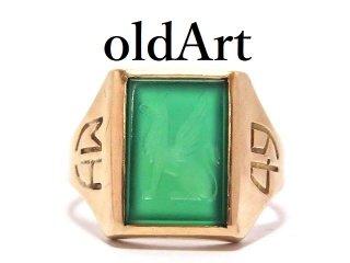 USA製アメリカヴィンテージインタリオ彫刻グリフィン鷲獅子9金無垢9ctゴールドリング指輪8.5号【M-13619】