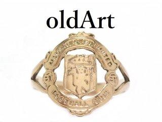 英国イギリス製マンチェスターユナイテッドサッカークラブシグネット彫刻メンズリング9金無垢/9CTゴールド指輪10号【M-13618】