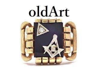 USA製1960年代ヴィンテージフリーメイソン10金無垢オニキスダイヤモンドメンズリング指輪23号10Kゴールド【M-13626】