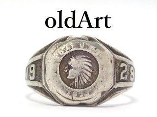 USA製1928年代アンティークネイティブアメリカンSTERLINGシルバー製メンズカレッジリング指輪15.5号【M-13633】