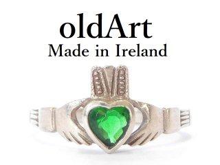 アイルランド製伝統的な指輪クラダリング緑石スターリングシルバー製18.5号ホールマーク刻印【M-13644】