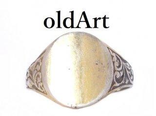 ヴィンテージ彫刻シグネットリングオーバル型STERLINGシルバー製ゴールドメンズ指輪19.5号【M-13647】