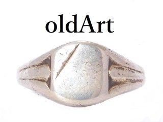 英国イギリス製1972年製造ヴィンテージ彫刻シグネットリングシルバー製指輪17号ホールマーク刻印【M-13651】