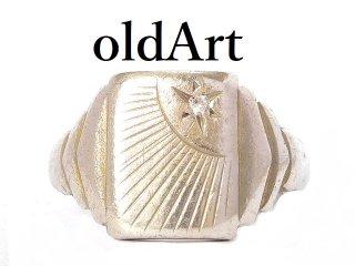 英国イギリス製ヴィンテージ彫刻シグネットリングメンズシルバー製指輪20.5号ホールマーク刻印【M-13650】