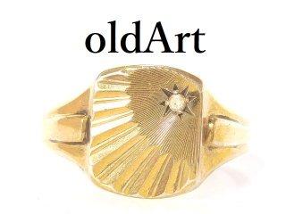 英国イギリス製1971年製造ヴィンテージシグネットリングスターリングシルバー9CTゴールド金張り重厚メンズ指輪24号【M-13649】