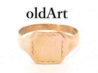 英国イギリス製ヴィンテージ彫刻シグネットリング9CTゴールド/9金無垢6号指輪【M-13654】