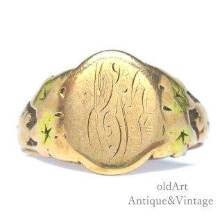 USA製アンティーク1910-20年代OSTBY&BARTON社シグネット彫刻オーバル型10金無垢メンズリング指輪19号10Kゴールド【M-13657】