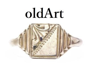ヴィンテージ彫刻シグネットリングSTERLINGシルバー製指輪14.5号【M-13616】