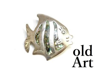 ヴィンテージMEXICOメキシコ製ニッケルシルバー製シェル魚メキシカンピンブローチ【M-13720】