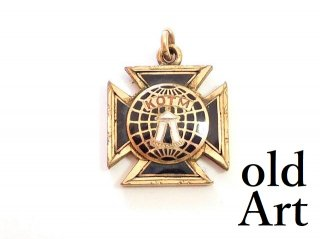 アンティーク1900年代初頭Maccabees騎士団金張り懐中時計フォブペンダントトップヘッド【M-13726】