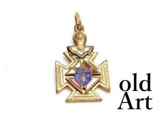 アンティーク1890-1920年代コロンブス騎士会KofC金張り両面エナメルフォブペンダントトップ【M-13745】