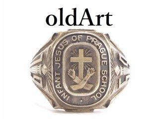 1959年代ビンテージBALFOUR社製キリストクロス十字架シェイクハンドSTERLINGシルバー製カレッジリング指輪14号【M-13781】