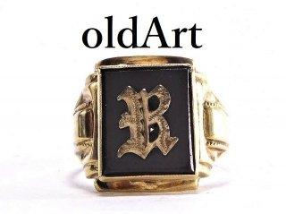 USA製1950年代ヴィンテージイニシャルB10金無垢オニキスメンズリング指輪14号10Kゴールド【M-13788】