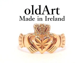 アイルランド製O.C.Lt社伝統的な指輪Claddagh Ringクラダリング9金無垢10.5号ホールマーク9CTゴールド刻印【M-13118】