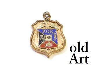 アンティーク1890-1920年代Knights of Golden Eagles金張り両面エナメルフォブペンダントトップ【M-13859】