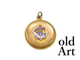 アンティーク1890-1910年代フリーメイソン金張り懐中時計フォブペンダントトップ【M-13864】