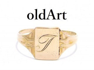 USA製ヴィンテージ1940年代BDA社イニシャルT彫刻シグネットリング10金無垢10Kゴールド6.5号指輪【M-13617】