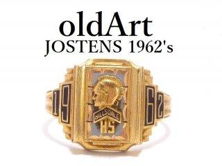 1962年代USAヴィンテージJOSTENSジャスティン社製ナイト騎士10金無垢ヘリテイジカレッジリング指輪13号10Kゴールド【M-13895】