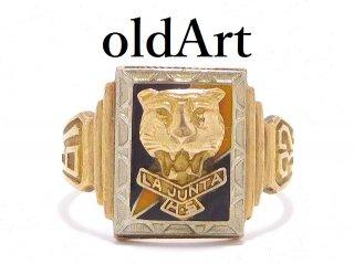 1932年USAヴィンテージLGB&Co社製LA JUNTA H.S10金無垢虎稲妻メンズカレッジリング指輪24号10Kゴールド【M-13897】
