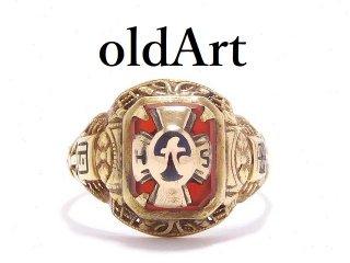 1932年USA製ヴィンテージクロス十字架透かし細工10金無垢カレッジリング指輪12.5号10Kゴールド【M-13898】