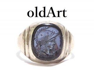 USA製ヴィンテージローマ神話マルス騎士ナイトシルバー製ヘマタイトインタリオ彫刻メンズリング指輪16号【M-13900】