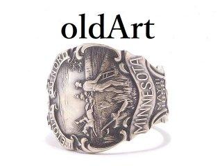 USA製アンティーク1900年代初頭ミネソタ州シルバー銀製スプーンリング指輪21号【M-13912】