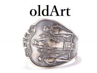 USA製アンティーク1900年代初頭ワイオミング州シルバー銀製スプーンリング指輪22号【M-13913】