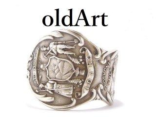USA製アンティーク1900年代初頭アイダホ州シルバー銀製スプーンリング指輪25号【M-13914】