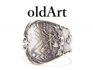 USA製アンティーク1900年代初頭モンタナ州シルバー銀製スプーンリング指輪24号【M-13915】