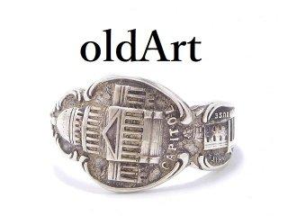 USA製アンティーク1900年代初頭WASHINGTON D.C.シルバー銀製スプーンリング指輪20号【M-13920】