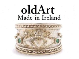 アイルランド製ヴィンテージ1970年代伝統的Claddagh Ringクラダリングスターリングシルバー製指輪16号【M-13906】