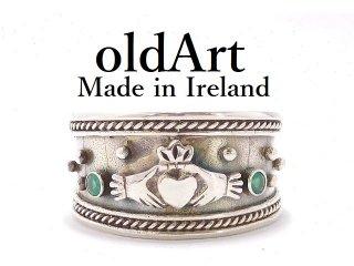 アイルランド製ヴィンテージ1970年代伝統的Claddagh Ringクラダリングスターリングシルバー製指輪20号【M-13907】