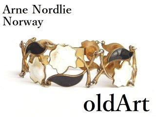 北欧ノルウェー製アンティーク1940-50年代Arne Nordlie銀細工エナメルシルバー銀製ゴールドブレスレット【M-13935】