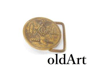 USA製ヴィンテージ1981年フリーメイソンプロビデンスの目意匠メダルベルトバックル【M-14056】