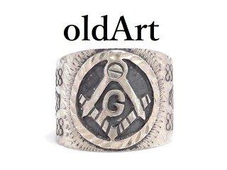ヴィンテージフリーメイソンMEXICO製シルバー925彫刻メキシカンメンズリング指輪14号【M-14063】