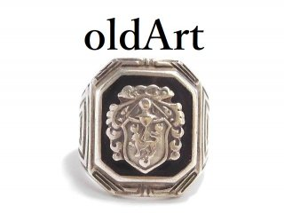 USA製1940-50年代ヴィンテージナイト騎士クロスSTERLINGシルバー製メンズカレッジリング指輪11号【M-14064】